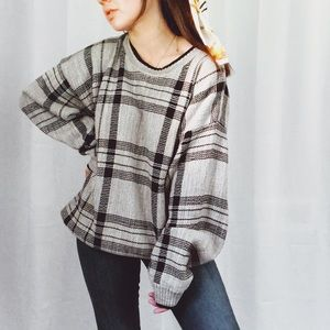 VINTAGE•plaid check oversized chunky baggy sweater